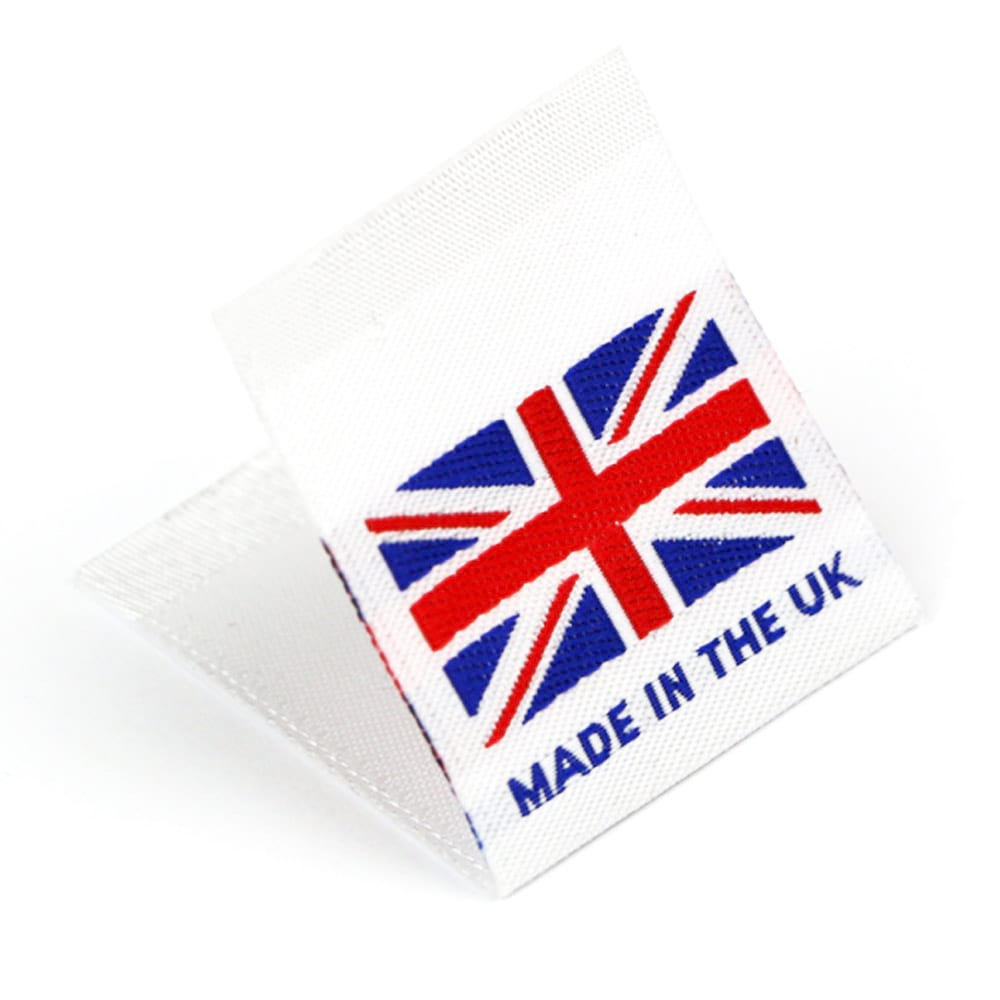 "Vävd mittvikt mini flagga ""Made in the UK"""