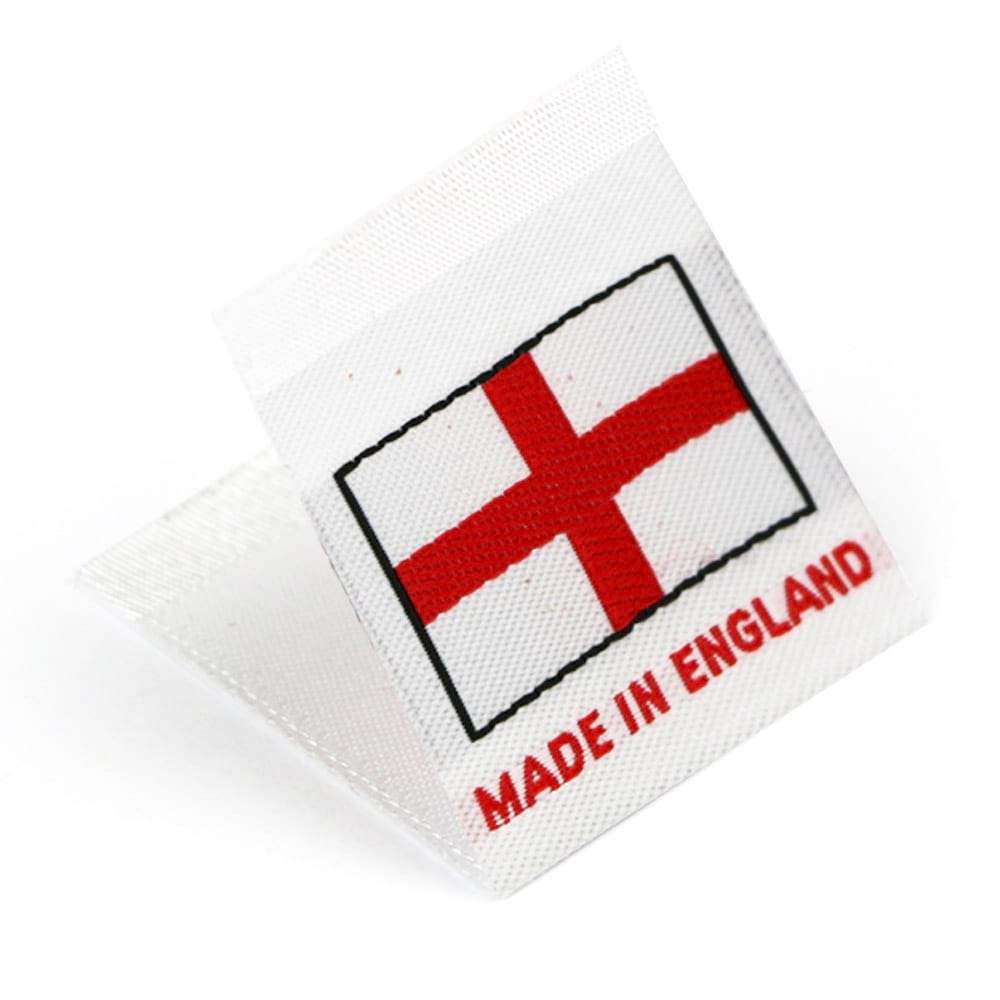 "Vävd mittvikt mini flagga ""Made in England"""