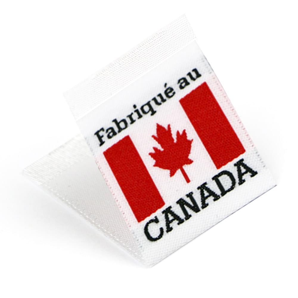 Woven 'Fabriqué au Canada' Flag Labels