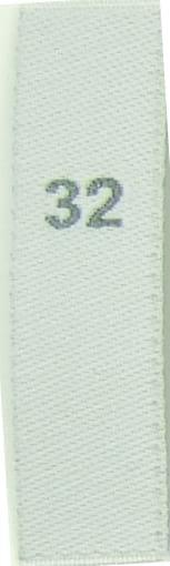 Storleksetiketter - Vita med grå text 32 -176