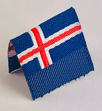 Vävd etikett mini flagga